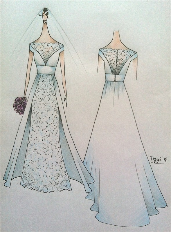 Bridal Gown Inspirational Sketch | Tippi Ocampo