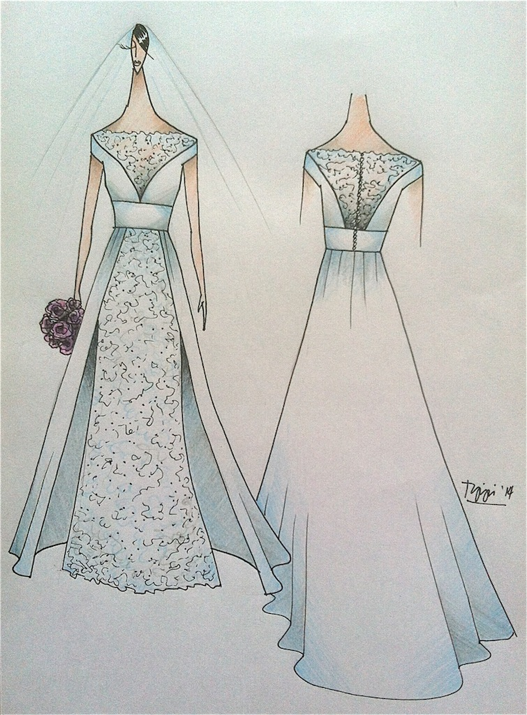 Bridal Gown Inspirational Sketch | Tippi Ocampo